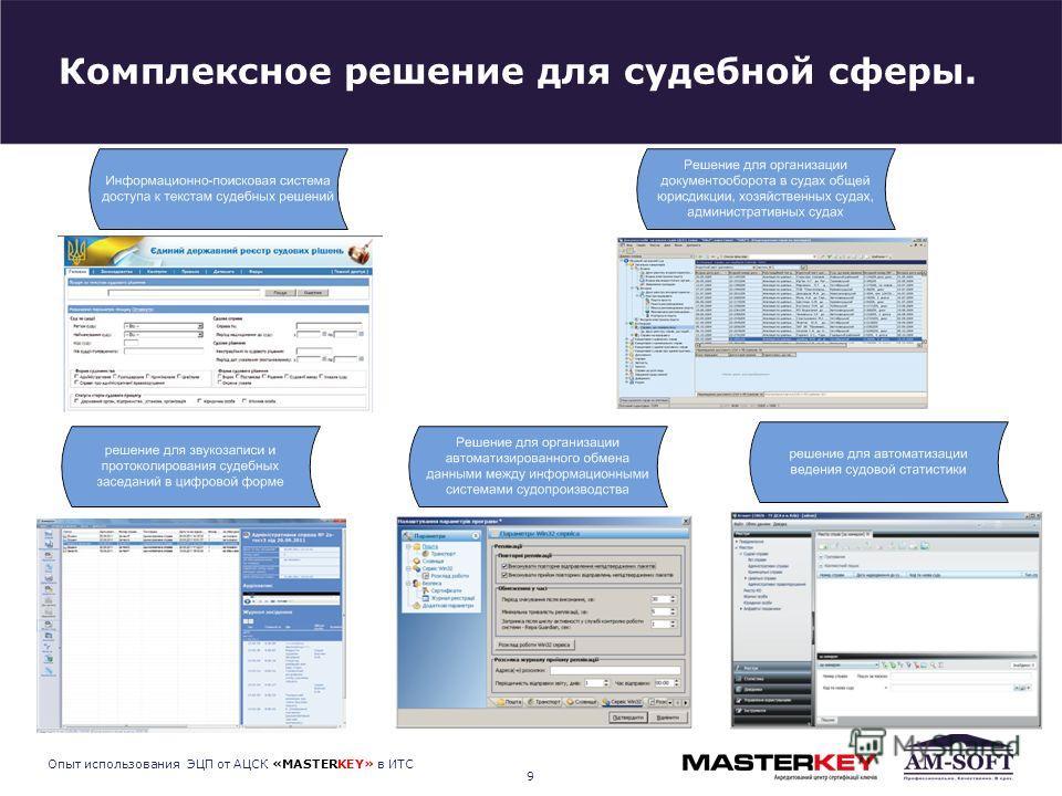 Комплексное решение для судебной сферы. 9 Опыт использования ЭЦП от АЦСК «MASTERKEY» в ИТС