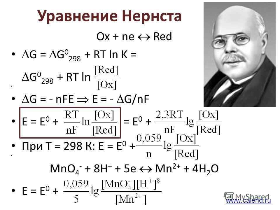Уравнение Нернста Ох + ne Red G = G 0 298 + RT ln K = G 0 298 + RT ln G = - nFE E = - G/nF E = E 0 + = E 0 + При Т = 298 К: Е = Е 0 + MnO 4 - + 8H + + 5e Mn 2+ + 4H 2 O Е = Е 0 + www.calend.ru