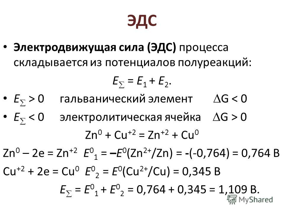 ЭДС Электродвижущая сила (ЭДС) процесса складывается из потенциалов полуреакций: Е = Е 1 + Е 2. Е > 0гальванический элемент G < 0 Е 0 Zn 0 + Cu +2 = Zn +2 + Cu 0 Zn 0 – 2е = Zn +2 Е 0 1 = –Е 0 (Zn 2+ /Zn) = -(-0,764) = 0,764 B Cu +2 + 2е = Cu 0 E 0 2