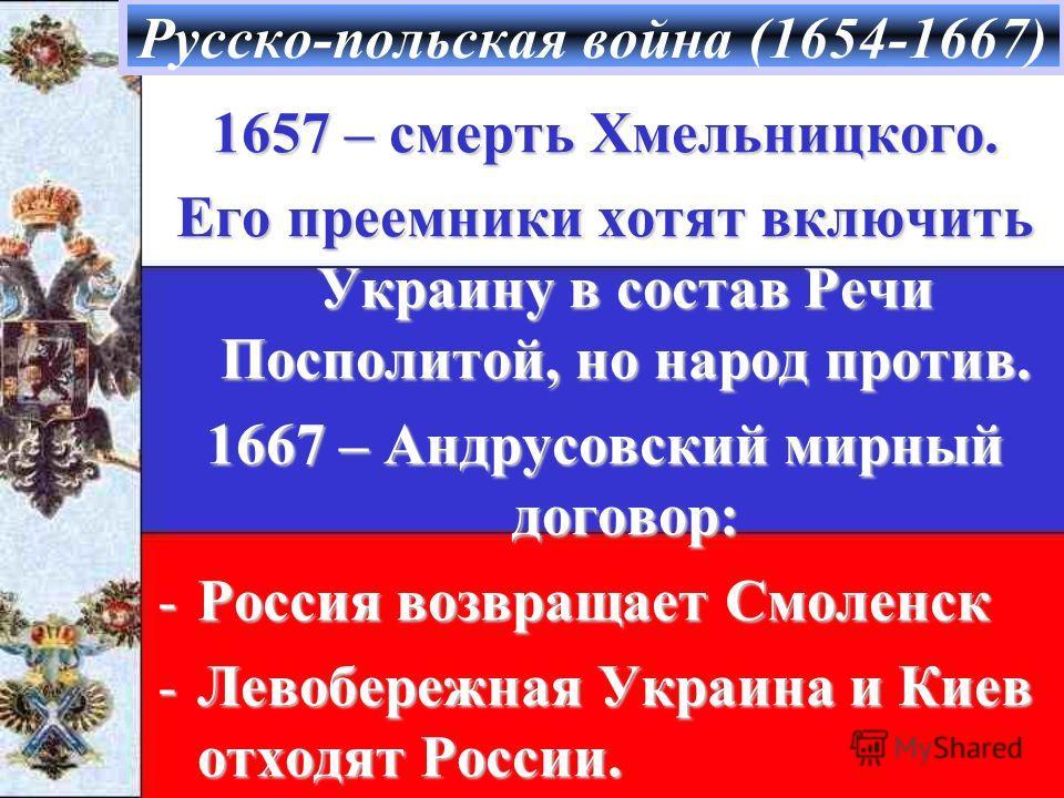 Русско-польская война (1654-1667) 1657 – смерть Хмельницкого. Его преемники хотят включить Украину в состав Речи Посполитой, но народ против. 1667 – Андрусовский мирный договор: -Россия возвращает Смоленск -Левобережная Украина и Киев отходят России.