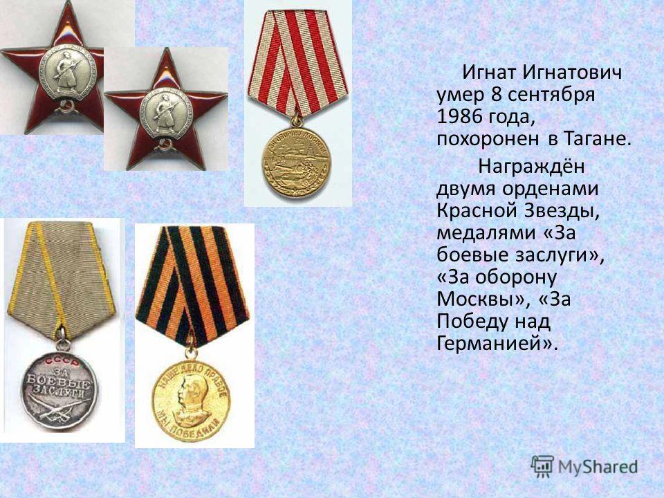 Игнат Игнатович умер 8 сентября 1986 года, похоронен в Тагане. Награждён двумя орденами Красной Звезды, медалями «За боевые заслуги», «За оборону Москвы», «За Победу над Германией».