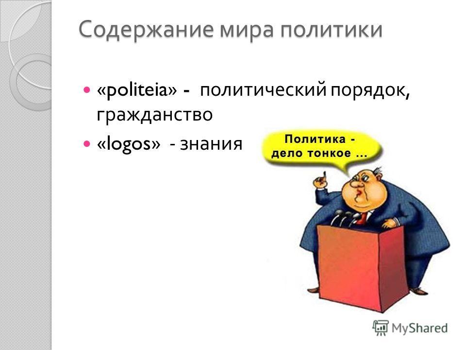 Содержание мира политики «politeia» - политический порядок, гражданство «logos» - знания