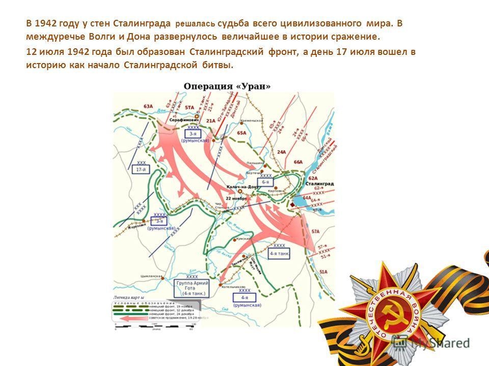 В 1942 году у стен Сталинграда решалась судьба всего цивилизованного мира. В междуречье Волги и Дона развернулось величайшее в истории сражение. 12 июля 1942 года был образован Сталинградский фронт, а день 17 июля вошел в историю как начало Сталингра