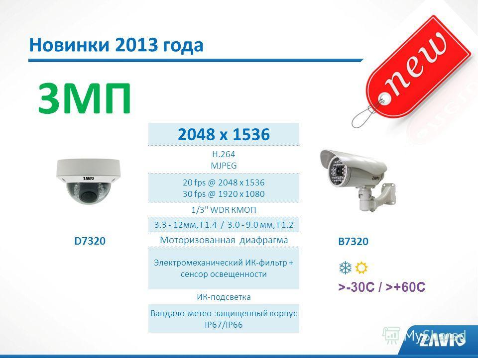 Новинки 2013 года 3МП D7320 B7320 2048 x 1536 H.264 MJPEG 20 fps @ 2048 x 1536 30 fps @ 1920 x 1080 1/3