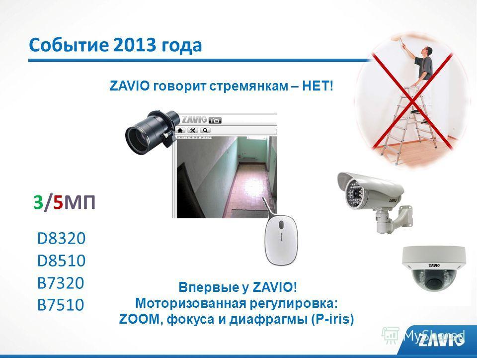 Событие 2013 года 3/5МП D8320 D8510 B7320 B7510 ZAVIO говорит стремянкам – НЕТ! Впервые у ZAVIO! Моторизованная регулировка: ZOOM, фокуса и диафрагмы (P-iris)
