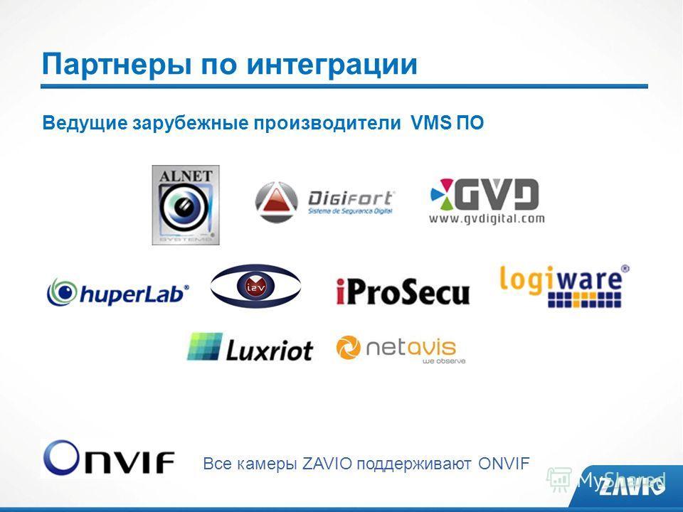 Партнеры по интеграции Все камеры ZAVIO поддерживают ONVIF Ведущие зарубежные производители VMS ПО