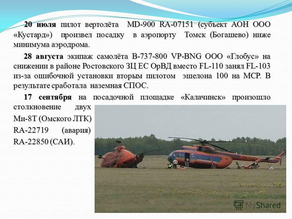 20 июля пилот вертолёта MD-900 RA-07151 (субъект АОН ООО «Кустард») произвел посадку в аэропорту Томск (Богашево) ниже минимума аэродрома. 28 августа экипаж самолёта В-737-800 VP-BNG ООО «Глобус» на снижении в районе Ростовского ЗЦ ЕС ОрВД вместо FL-