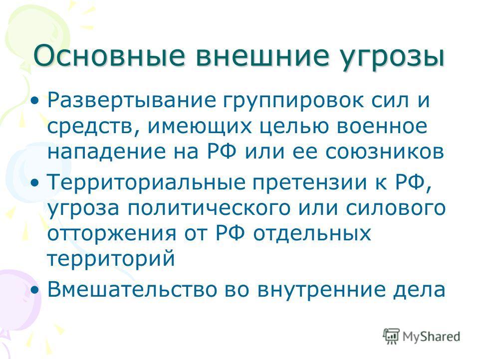 Основные внешние угрозы Развертывание группировок сил и средств, имеющих целью военное нападение на РФ или ее союзников Территориальные претензии к РФ, угроза политического или силового отторжения от РФ отдельных территорий Вмешательство во внутренни