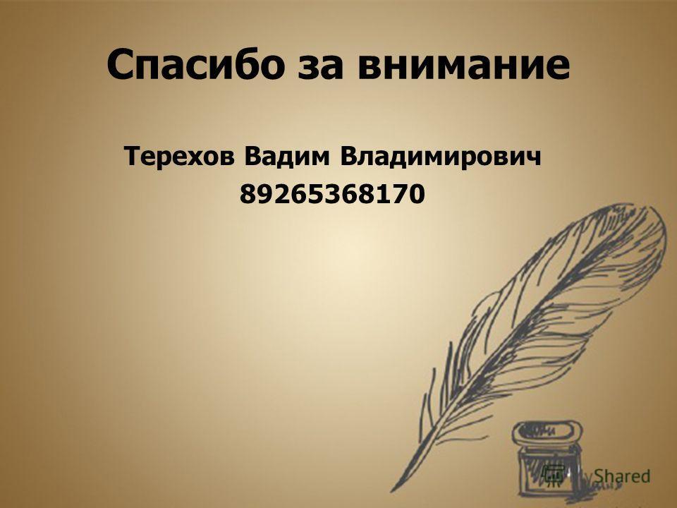 Спасибо за внимание Терехов Вадим Владимирович 89265368170