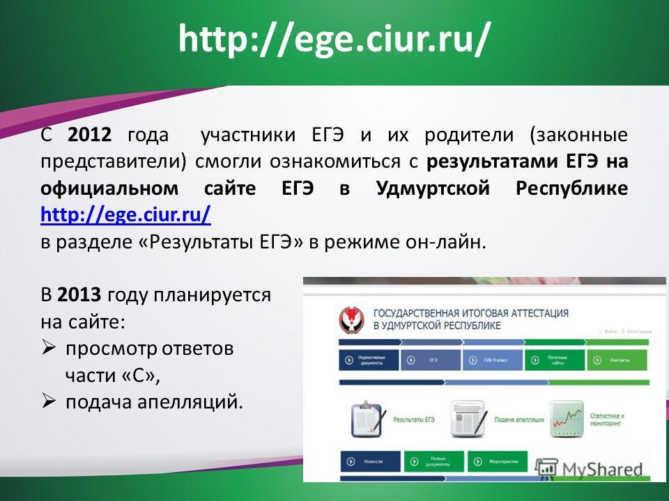 http://ege.ciur.ru/ С 2012 года участники ЕГЭ и их родители (законные представители) смогли ознакомиться с результатами ЕГЭ на официальном сайте ЕГЭ в Удмуртской Республике http://ege.ciur.ru/ http://ege.ciur.ru/ в разделе «Результаты ЕГЭ» в режиме о