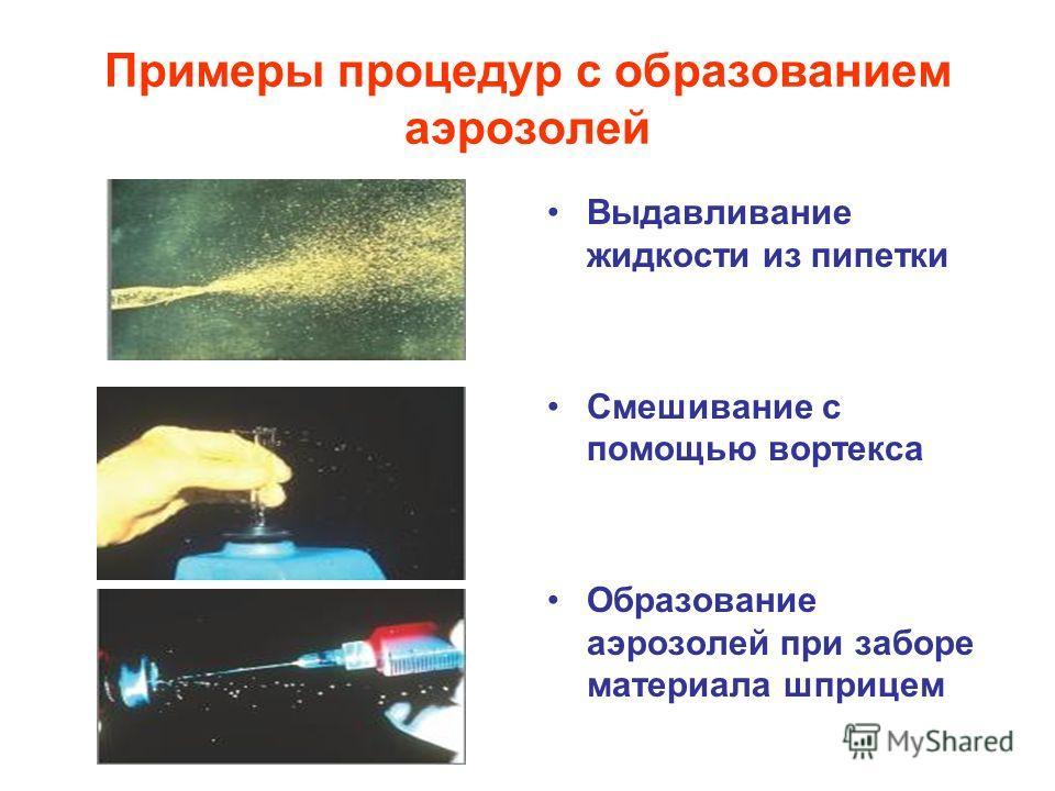 Примеры процедур с образованием аэрозолей Выдавливание жидкости из пипетки Смешивание с помощью вортекса Образование аэрозолей при заборе материала шприцем