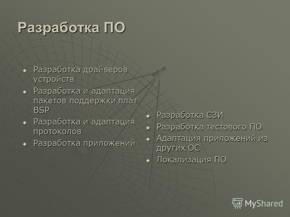 Разработка ПО Разработка драйверов устройств Разработка драйверов устройств Разработка и адаптация пакетов поддержки плат BSP Разработка и адаптация пакетов поддержки плат BSP Разработка и адаптация протоколов Разработка и адаптация протоколов Разраб