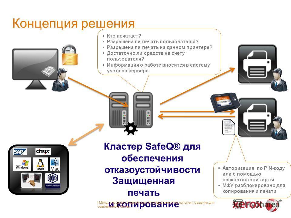 Кто печатает? Разрешена ли печать пользователю? Разрешена ли печать на данном принтере? Достаточно ли средств на счету пользователя? Информация о работе вносится в систему учета на сервере Защищенная печать и копирование Кластер SafeQ® для обеспечени