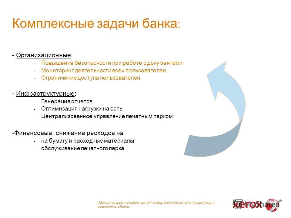 Комплексные задачи банка : - Организационные: - Повышение безопасности при работе с документами - Мониторинг деятельности всех пользователей - Ограничение доступа пользователей - Инфраструктурные: - Генерация отчетов - Оптимизация нагрузки на сеть -