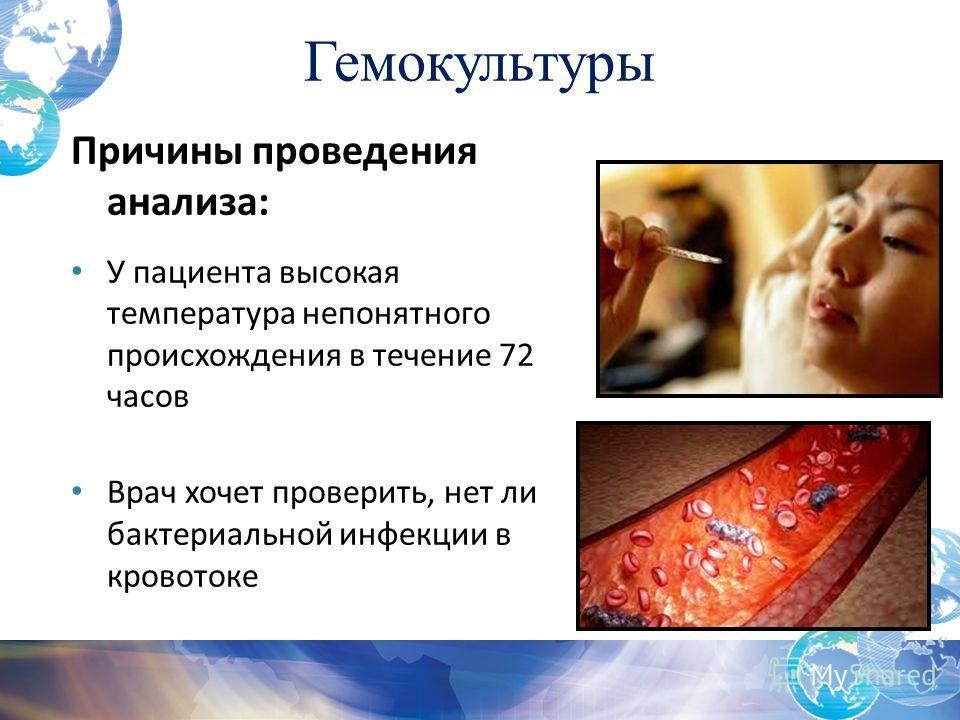 Причины проведения анализа: У пациента высокая температура непонятного происхождения в течение 72 часов Врач хочет проверить, нет ли бактериальной инфекции в кровотоке Гемокультуры