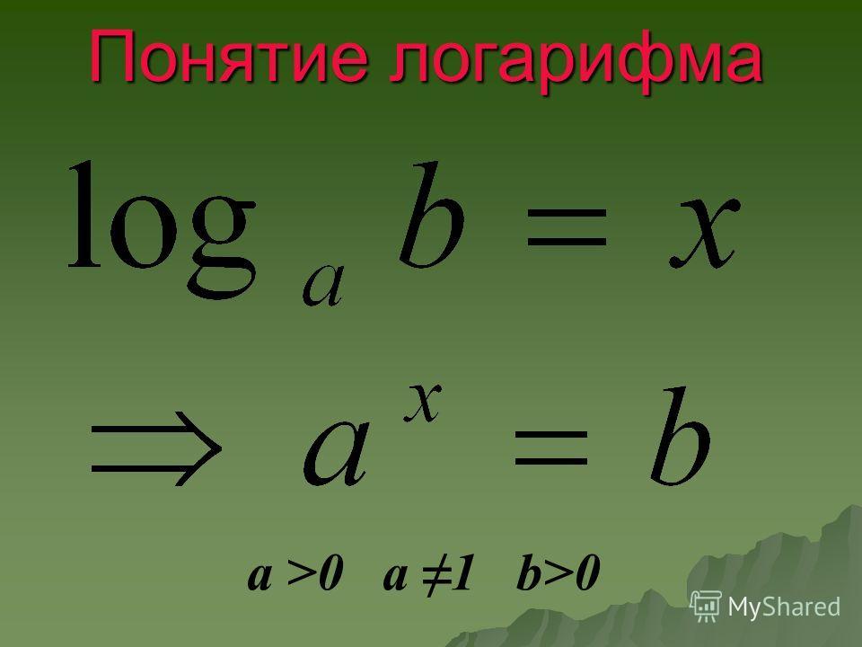 Понятие логарифма a >0 a 1 b>0