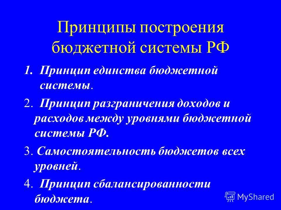 Принципы построения бюджетной системы РФ 1.Принцип единства бюджетной системы. 2. Принцип разграничения доходов и расходов между уровнями бюджетной системы РФ. 3. Самостоятельность бюджетов всех уровней. 4. Принцип сбалансированности бюджета.