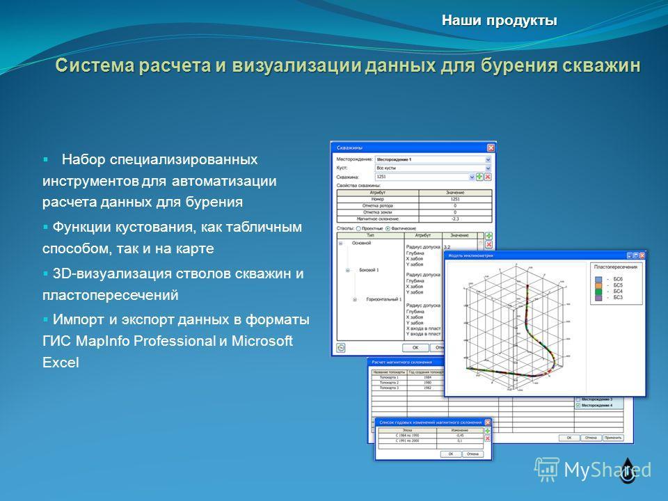 Набор специализированных инструментов для автоматизации расчета данных для бурения Функции кустования, как табличным способом, так и на карте 3D-визуализация стволов скважин и пластопересечений Импорт и экспорт данных в форматы ГИС MapInfo Profession