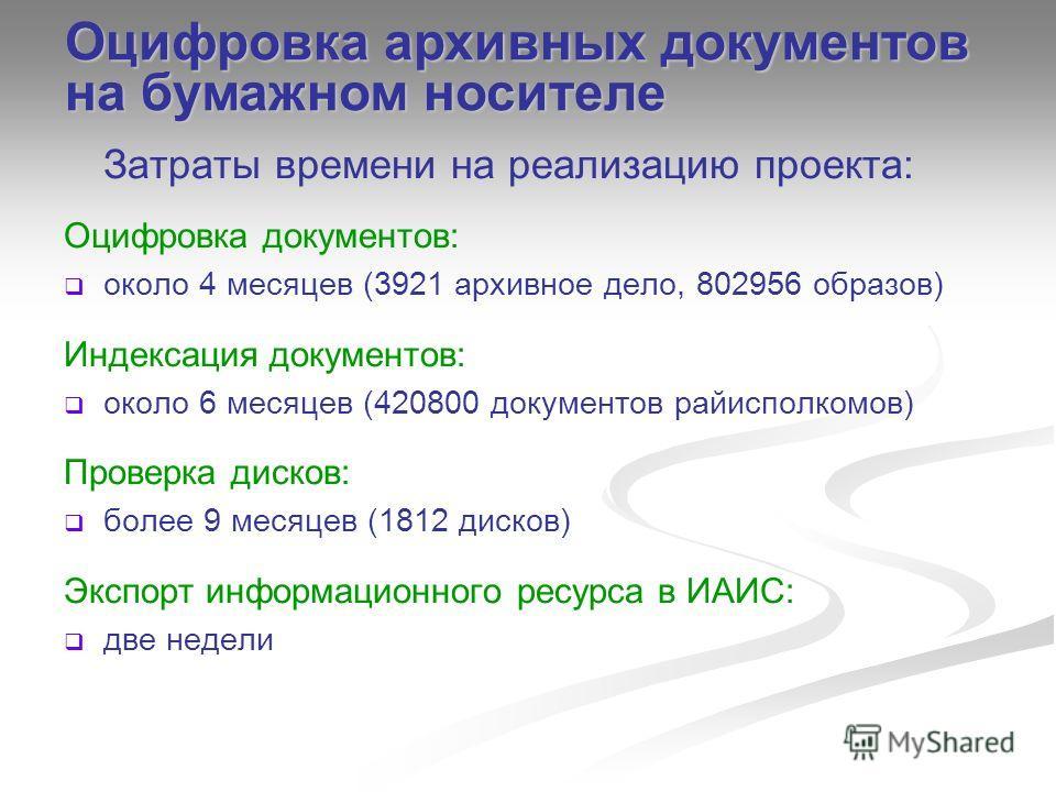 Затраты времени на реализацию проекта: Оцифровка документов: около 4 месяцев (3921 архивное дело, 802956 образов) Индексация документов: около 6 месяцев (420800 документов райисполкомов) Проверка дисков: более 9 месяцев (1812 дисков) Экспорт информац