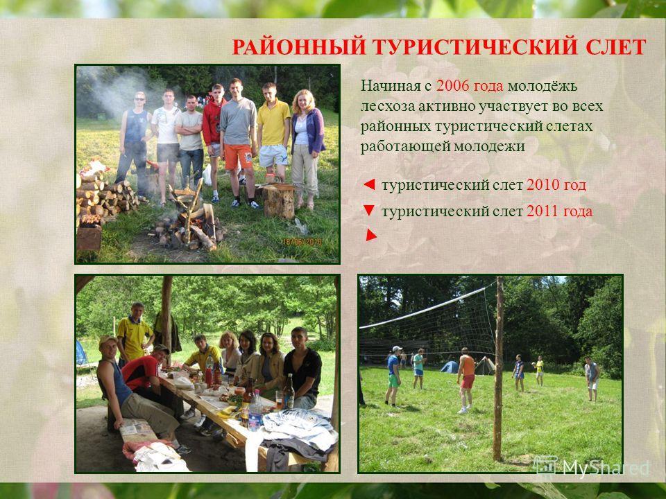 РАЙОННЫЙ ТУРИСТИЧЕСКИЙ СЛЕТ туристический слет 2010 год туристический слет 2011 года Начиная с 2006 года молодёжь лесхоза активно участвует во всех районных туристический слетах работающей молодежи