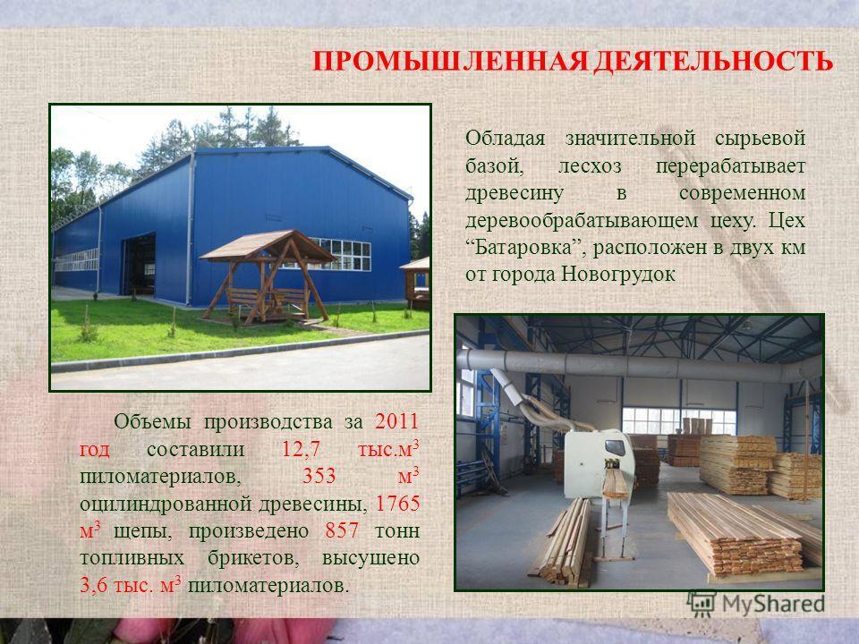 ПРОМЫШЛЕННАЯ ДЕЯТЕЛЬНОСТЬ Обладая значительной сырьевой базой, лесхоз перерабатывает древесину в современном деревообрабатывающем цеху. Цех Батаровка, расположен в двух км от города Новогрудок Объемы производства за 2011 год составили 12,7 тыс.м 3 пи