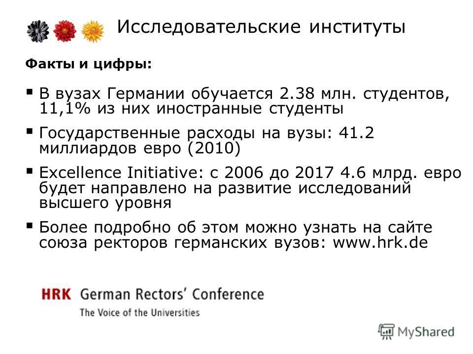 Исследовательские институты Факты и цифры: В вузах Германии обучается 2.38 млн. студентов, 11,1% из них иностранные студенты Государственные расходы на вузы: 41.2 миллиардов евро (2010) Excellence Initiative: с 2006 до 2017 4.6 млрд. евро будет напра