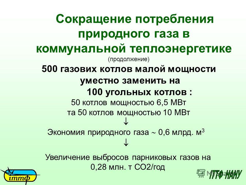 Сокращение потребления природного газа в коммунальной теплоэнергетике (продолжение) 500 газових котлов малой мощности уместно заменить на 100 угольных котлов : 50 котлов мощностью 6,5 МВт та 50 котлов мощностью 10 МВт Экономия природного газа 0,6 млр