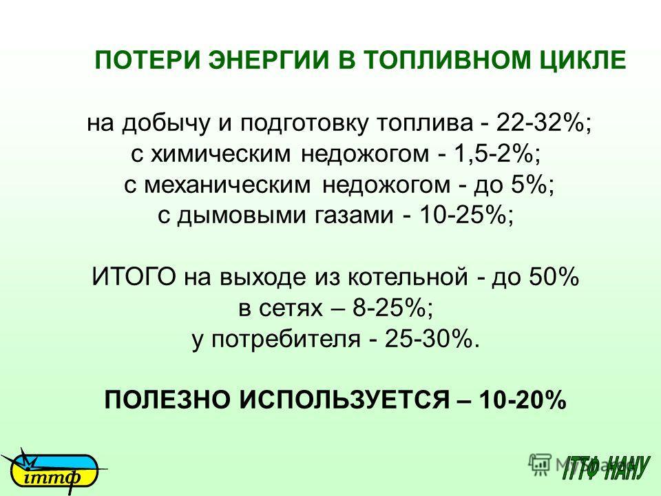 ПОТЕРИ ЭНЕРГИИ В ТОПЛИВНОМ ЦИКЛЕ на добычу и подготовку топлива - 22-32%; с химическим недожогом - 1,5-2%; с механическим недожогом - до 5%; с дымовыми газами - 10-25%; ИТОГО на выходе из котельной - до 50% в сетях – 8-25%; у потребителя - 25-30%. ПО