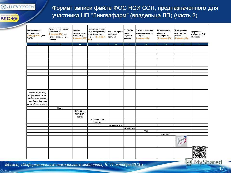 Формат записи файла ФОС НСИ СОЛ, предназначенного для участника НП Лингвафарм (владельца ЛП) (часть 2) 17 Москва, «Информационные технологии в медицине», 10-11 октября 2013 г.