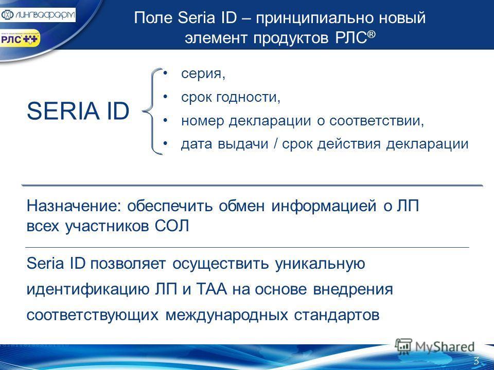 Поле Seria ID – принципиально новый элемент продуктов РЛС ® серия, срок годности, номер декларации о соответствии, дата выдачи / срок действия декларации SERIA ID Назначение: обеспечить обмен информацией о ЛП всех участников СОЛ Seria ID позволяет ос