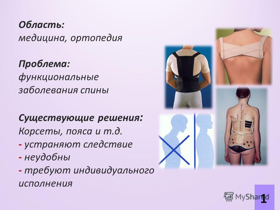 Область: медицина, ортопедия Проблема: функциональные заболевания спины Существующие решения : Корсеты, пояса и т.д. - устраняют следствие - неудобны - требуют индивидуального исполнения 1