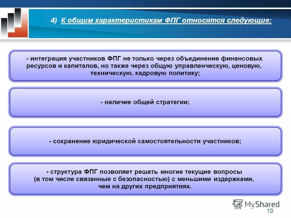 4) К общим характеристикам ФПГ относятся следующие: - интеграция участников ФПГ не только через объединение финансовых ресурсов и капиталов, но также через общую управленческую, ценовую, техническую, кадровую политику; - интеграция участников ФПГ не