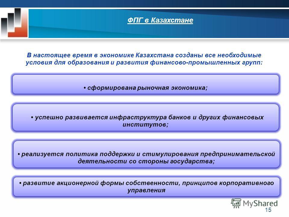 15 ФПГ в Казахстане 1) Основной смысл антимонопольного регулирования и контроля в отношении крупных интегрированных структур, включая финансово-промышленные группы, должен заключаться в предотвращении ограничения конкуренции и возникновения на рынке