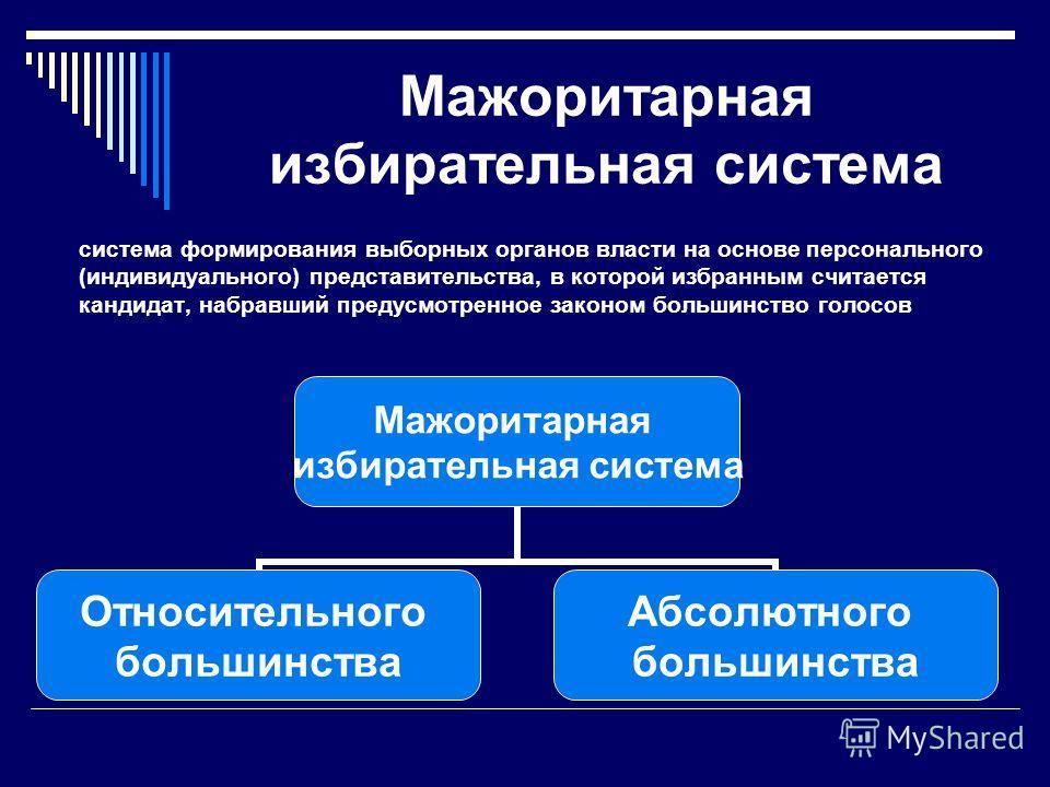 Мажоритарная избирательная система система формирования выборных органов власти на основе персонального (индивидуального) представительства, в которой избранным считается кандидат, набравший предусмотренное законом большинство голосов Мажоритарная из