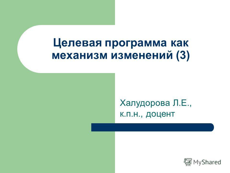 Целевая программа как механизм изменений (3) Халудорова Л.Е., к.п.н., доцент