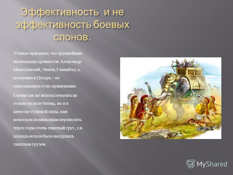 Эффективность и не эффективность боевых слонов. Ученые признают, что крупнейшие полководцы древности : Александр Македонский, Эвмен, Ганнибал, а, возможно и Цезарь – не отказывались от их применения. Слоны так же использовались не только на поле битв