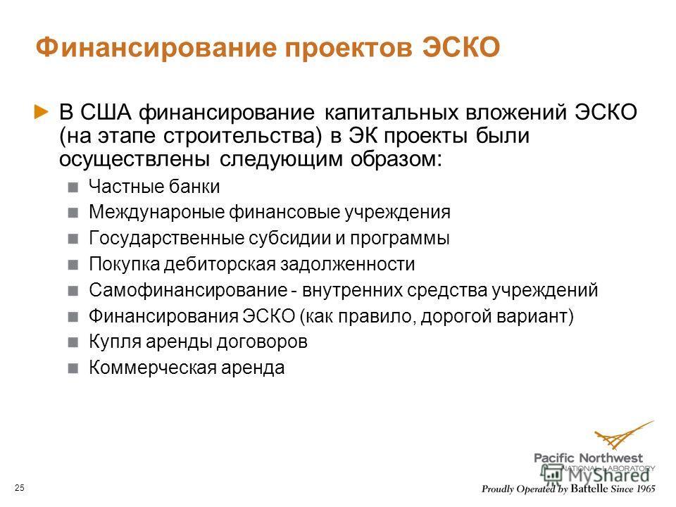 Финансирование проектов ЭСКО В США финансирование капитальных вложений ЭСКО (на этапе строительства) в ЭК проекты были осуществлены следующим образом: Частные банки Междунароные финансовые учреждения Государственные субсидии и программы Покупка дебит