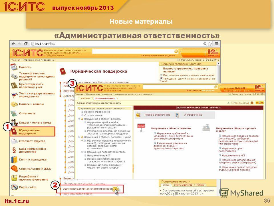 its.1c.ru 36 Новые материалы «Административная ответственность» 1 2 3 выпуск ноябрь 2013