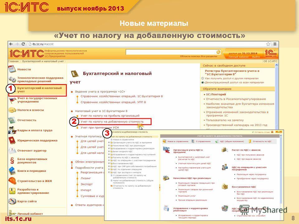 its.1c.ru 8 выпуск ноябрь 2013 «Учет по налогу на добавленную стоимость» Новые материалы 1 2 3