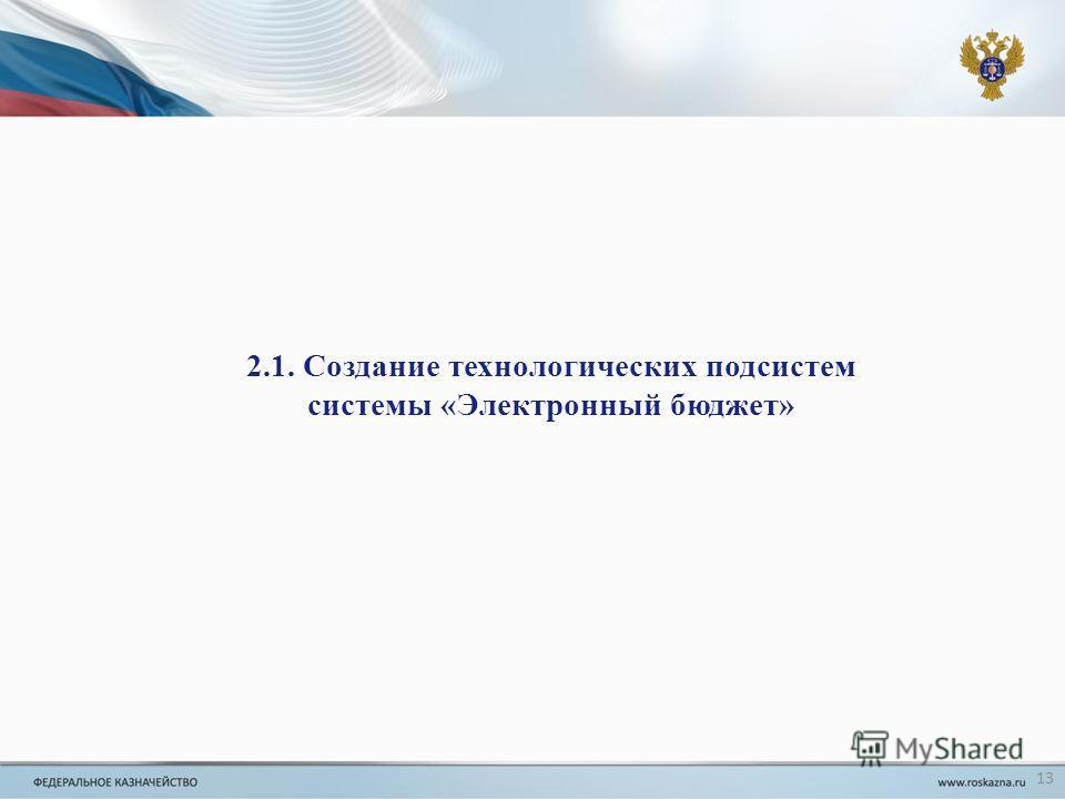 2.1. Создание технологических подсистем системы «Электронный бюджет» 13
