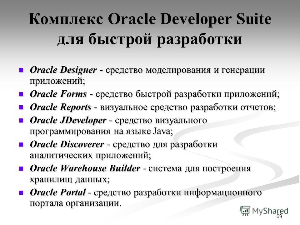 69 Комплекс Oracle Developer Suite для быстрой разработки Oracle Designer - средство моделирования и генерации приложений; Oracle Designer - средство моделирования и генерации приложений; Oracle Forms - средство быстрой разработки приложений; Oracle