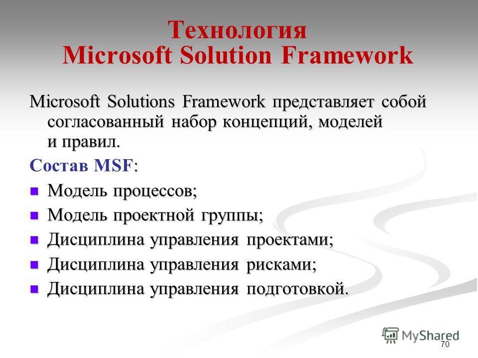 70 Технология Microsoft Solution Framework Microsoft Solutions Framework представляет собой согласованный набор концепций, моделей и правил. : Состав MSF: Модель процессов; Модель процессов; Модель проектной группы; Модель проектной группы; Дисциплин