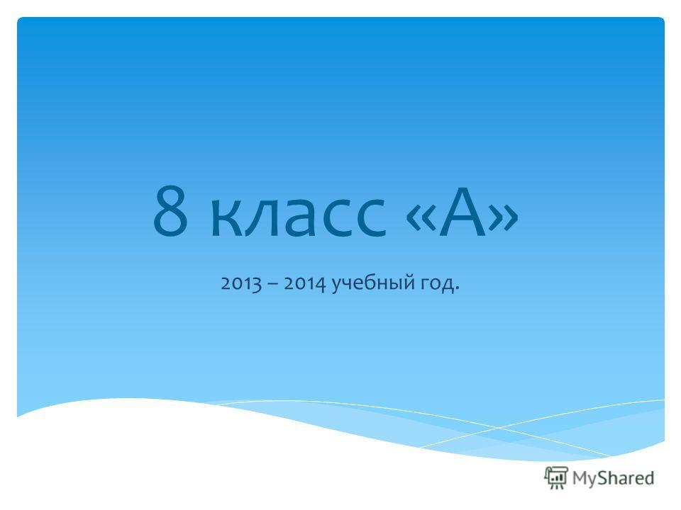 8 класс «А» 2013 – 2014 учебный год.