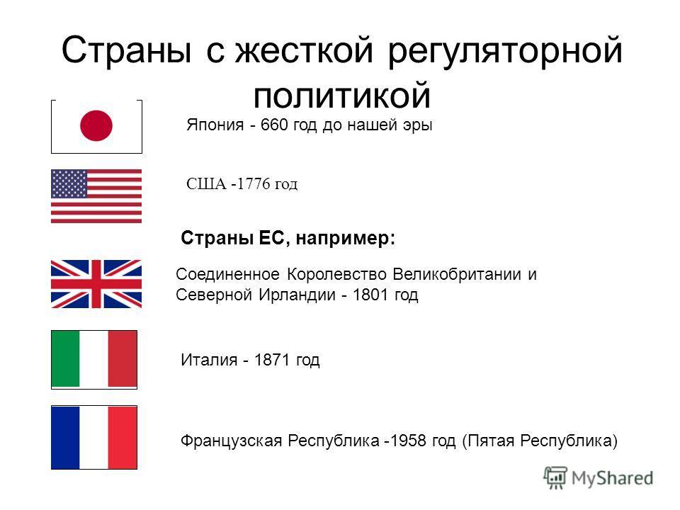 Страны с жесткой регуляторной политикой США -1776 год Япония - 660 год до нашей эры Соединенное Королевство Великобритании и Северной Ирландии - 1801 год Италия - 1871 год Французская Республика -1958 год (Пятая Республика) Страны ЕС, например: