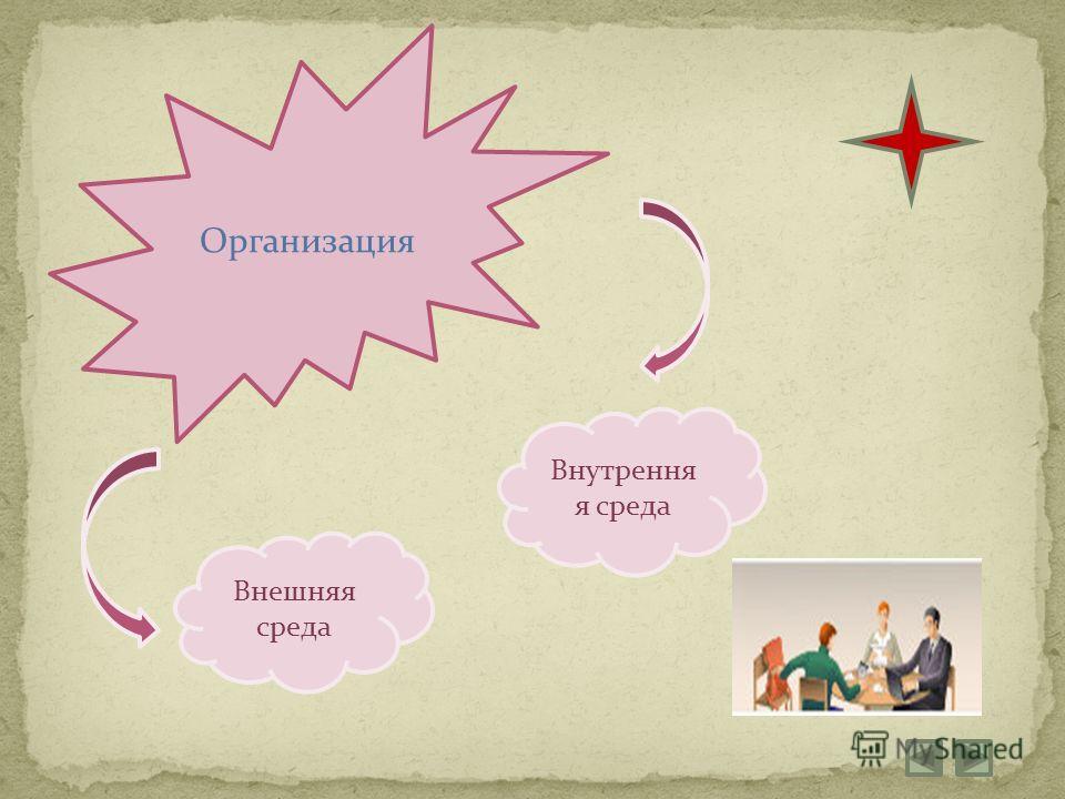 Организация Внешняя среда Внутрення я среда