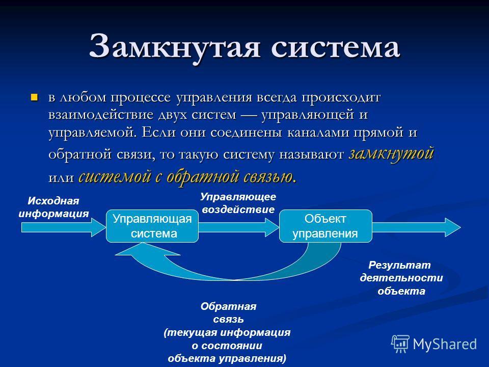 Замкнутая система в любом процессе управления всегда происходит взаимодействие двух систем управляющей и управляемой. Если они соединены каналами прямой и обратной связи, то такую систему называют замкнутой или системой с обратной связью. в любом про