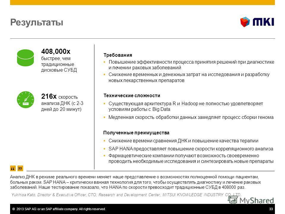 ©2013 SAP AG or an SAP affiliate company. All rights reserved.33 Результаты Требования Повышение эффективности процесса принятия решений при диагностике и лечении раковых заболеваний Снижение временных и денежных затрат на исследования и разработку н