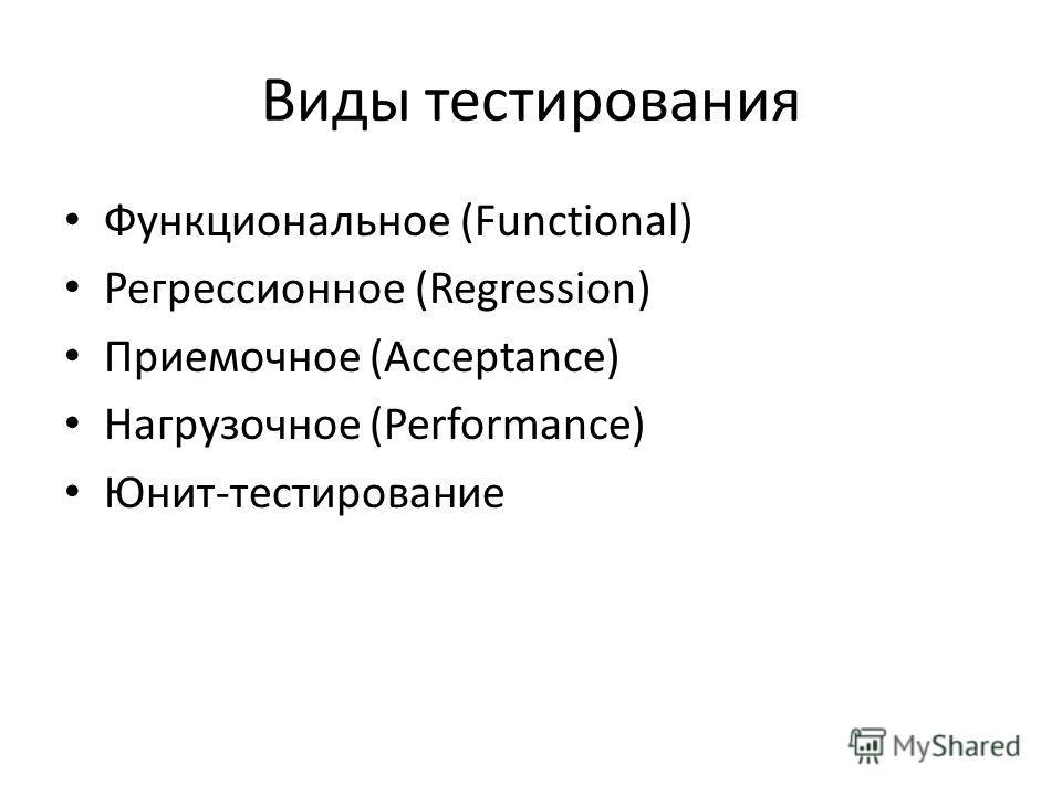 Виды тестирования Функциональное (Functional) Регрессионное (Regression) Приемочное (Acceptance) Нагрузочное (Performance) Юнит-тестирование
