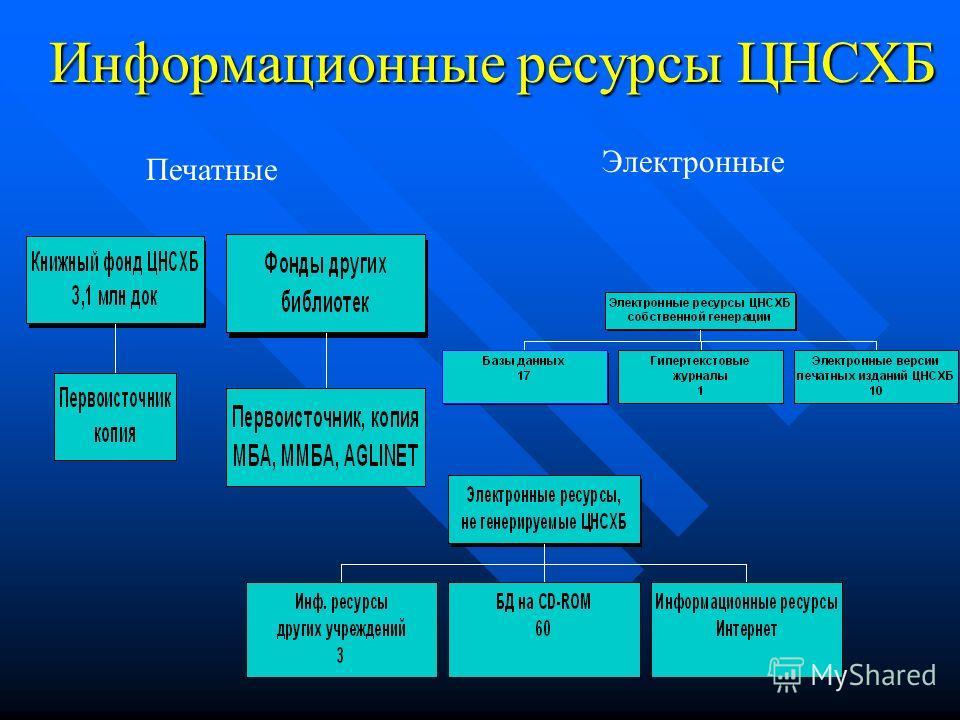 Информационные ресурсы ЦНСХБ Печатные Электронные