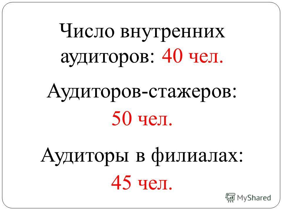 Число внутренних аудиторов: 40 чел. Аудиторов-стажеров: 50 чел. Аудиторы в филиалах: 45 чел.
